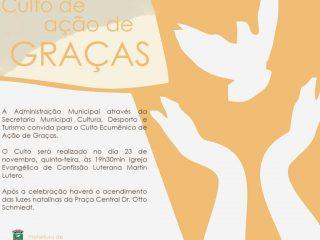 Administração celebra Culto Ecumênico no dia 23 de Novembro