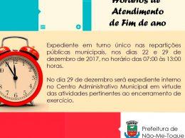 Administração divulga horários de fim de ano