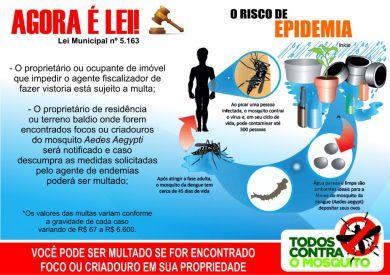 Combate ao Mosquito da Dengue: Quem dificultar ação dos agentes poderá ser multado