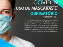Uso de Máscaras passa a ser obrigatório em Não-Me-Toque