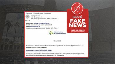 E-mail sobre vistoria da Vigilância Sanitária é fake, não abra!
